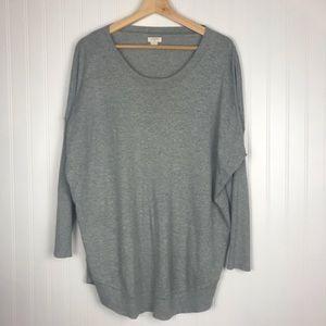 J Crew Gray Long Scoop Neck Sweater